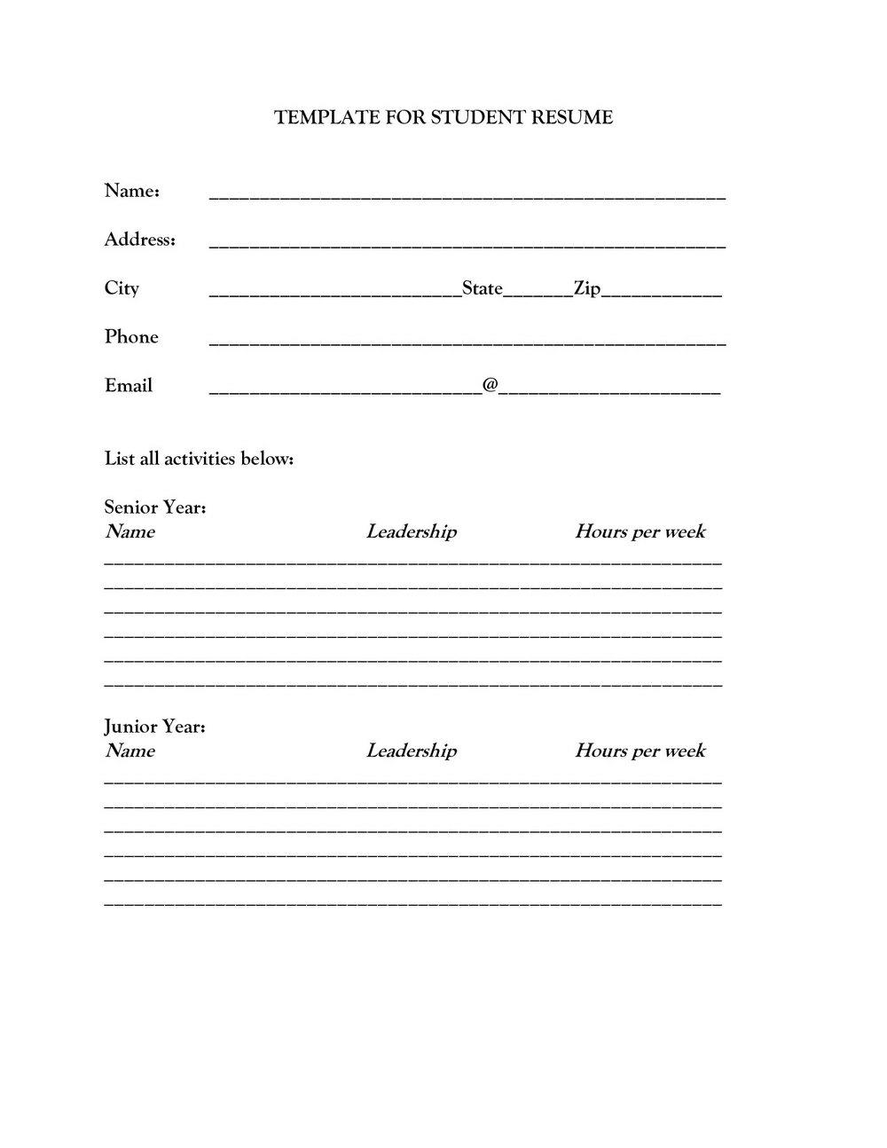 Blank Resume Format Pdf