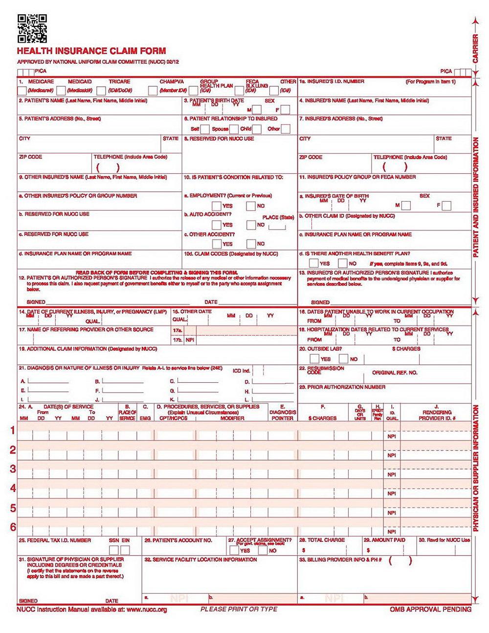 Cms 1500 Claim Form