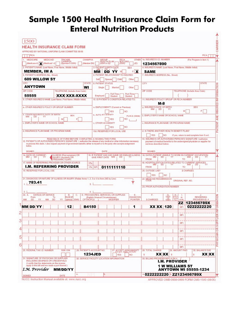 Cms 1500 Form Example