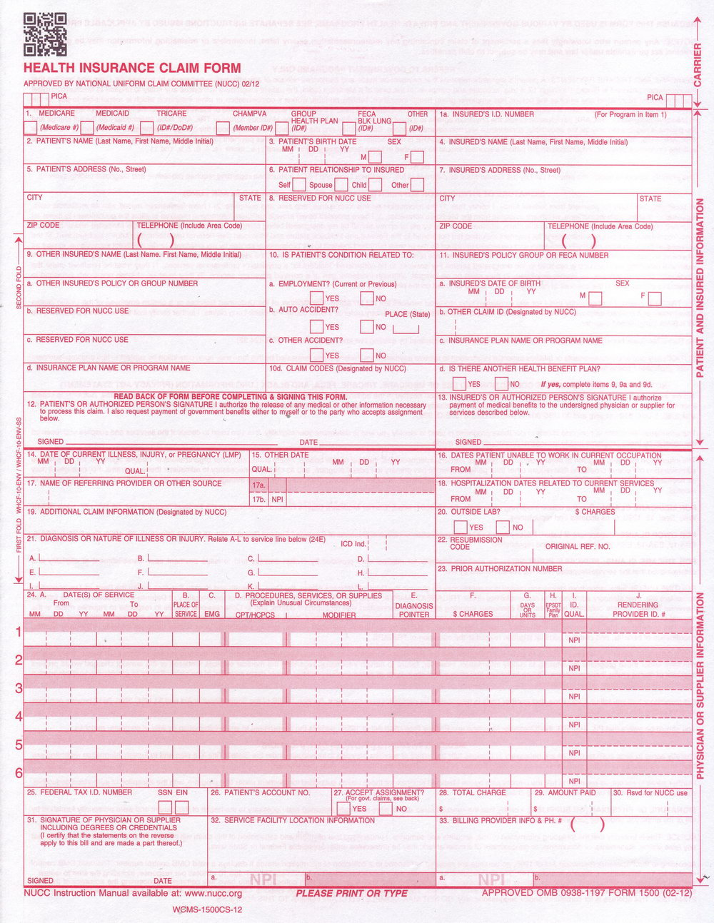 Completed Cms 1500 Form Sample
