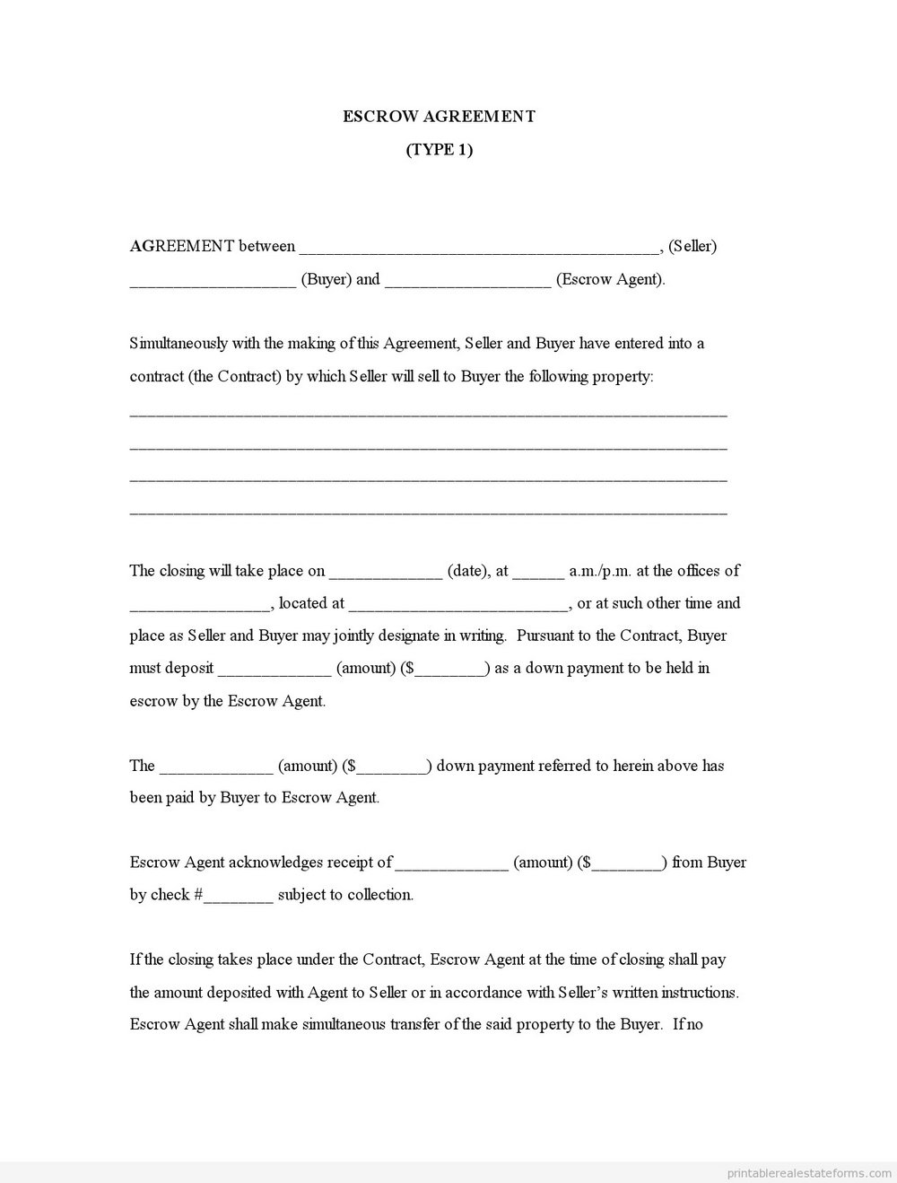 Escrow Agreement Form