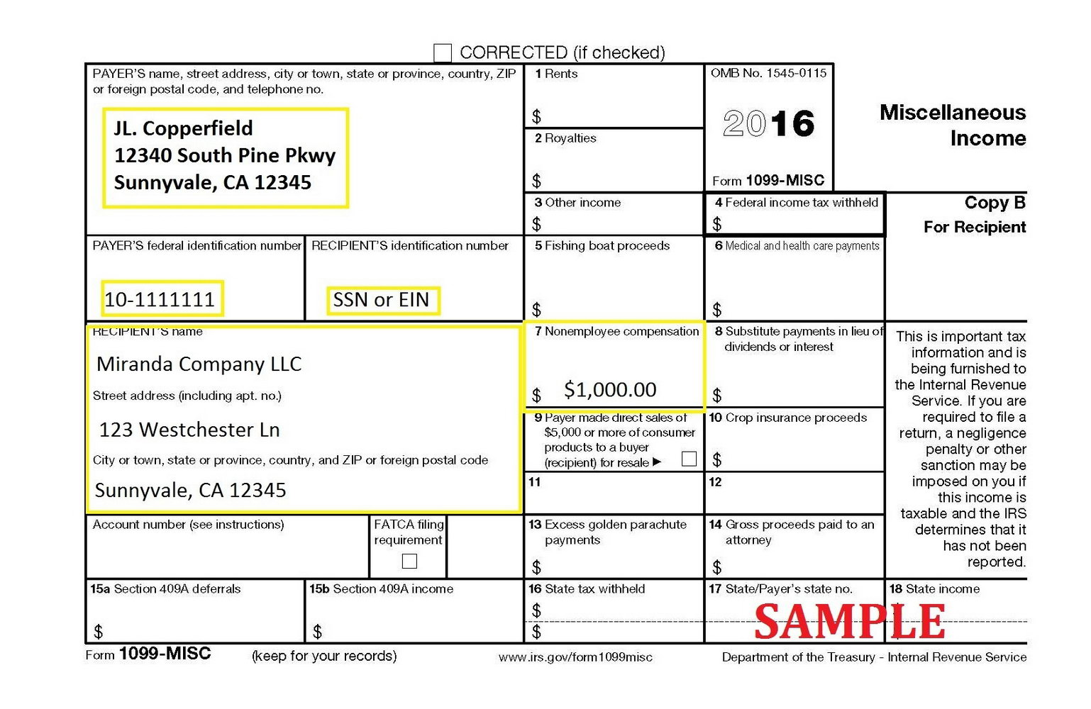 Fillable 1099 Form 2016