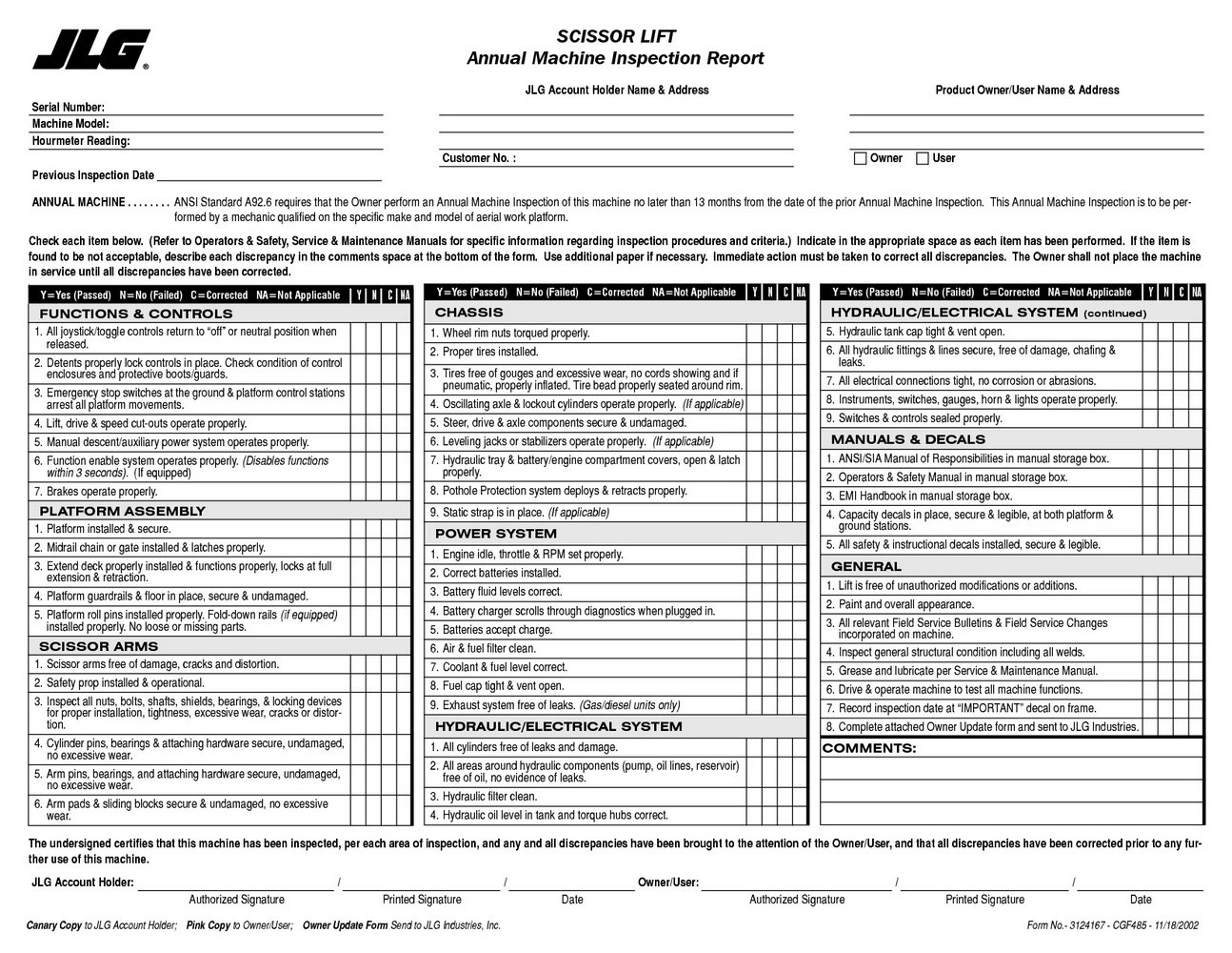 Forklift Annual Inspection Form