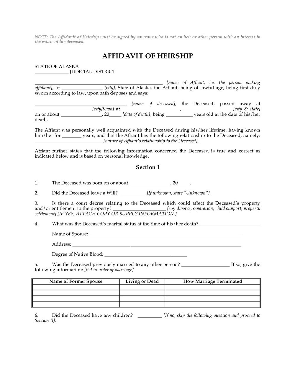 Free Affidavit Of Heirship Form California