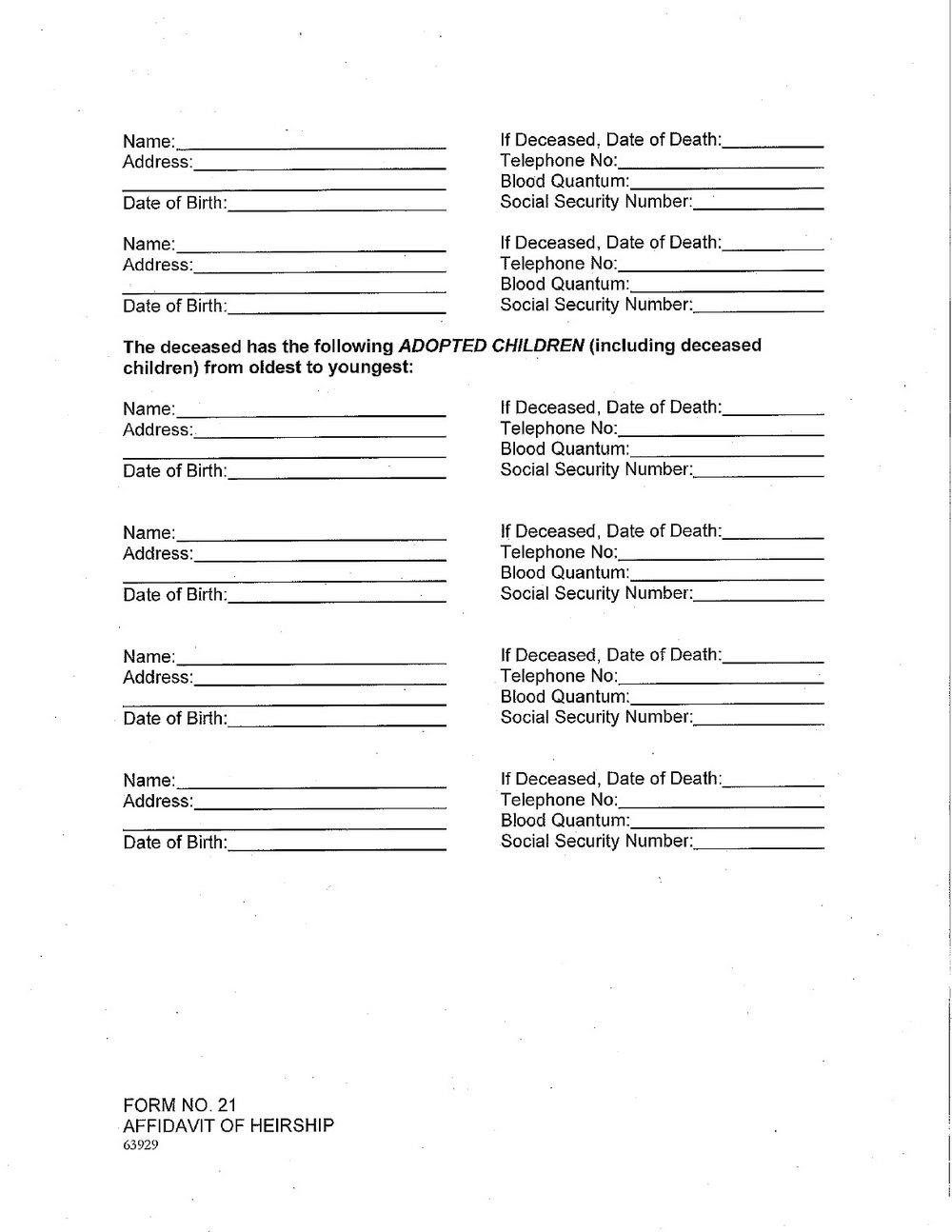 Free Affidavit Of Heirship Form