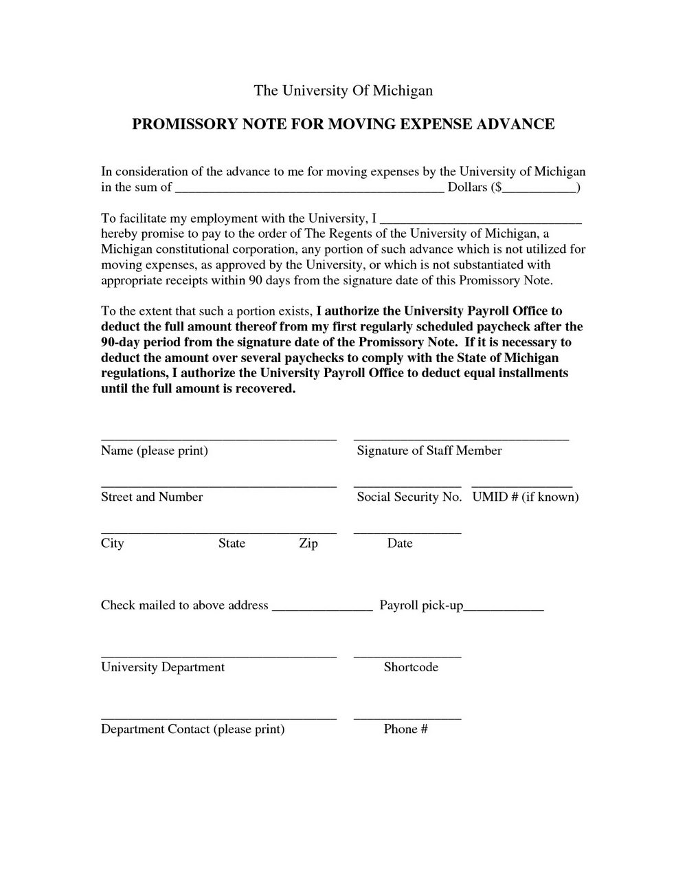 Free Promissory Note Form Canada