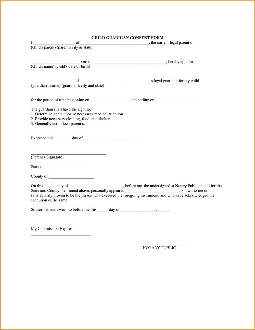 Free Temporary Guardianship Form South Carolina