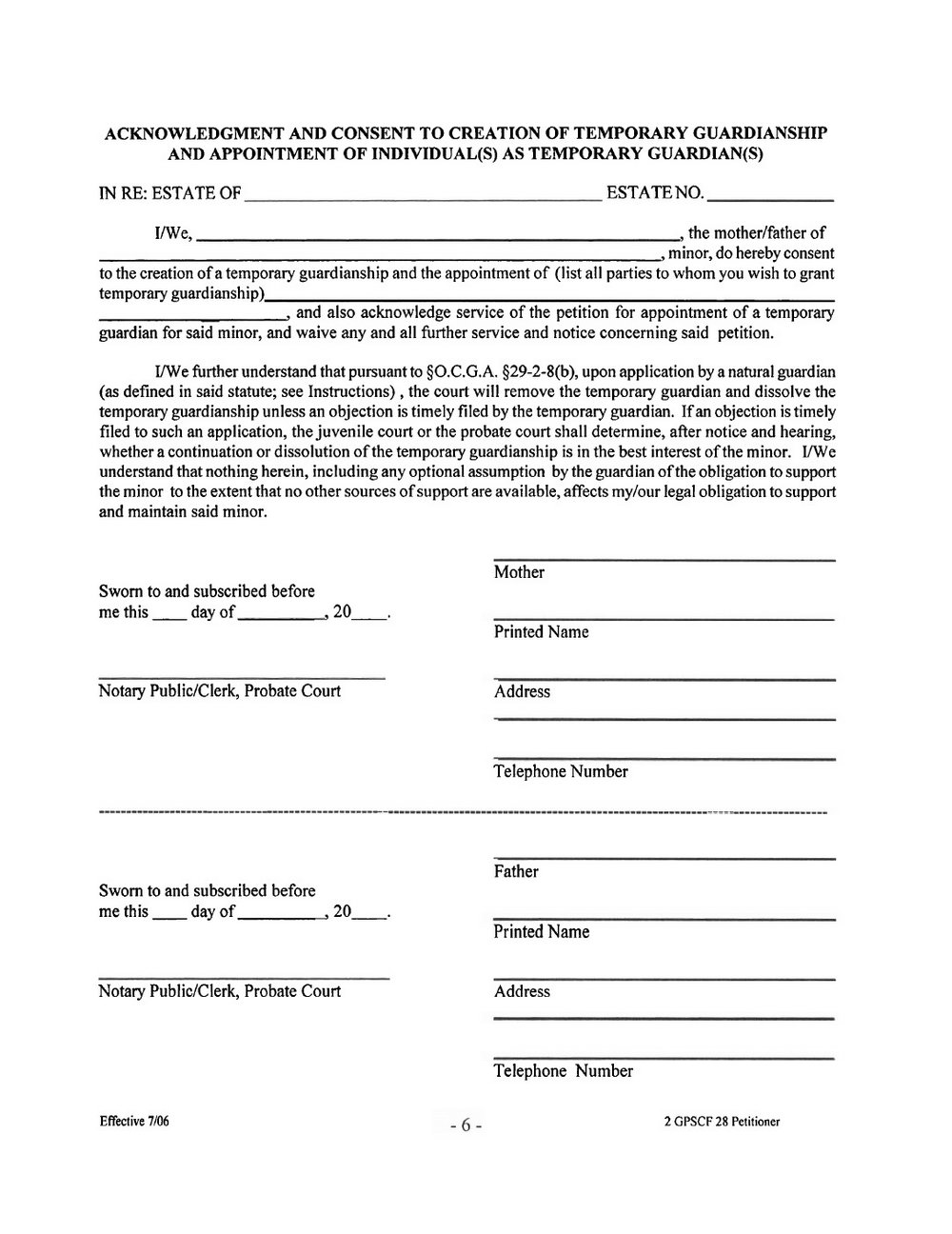 Free Temporary Guardianship Forms Kansas