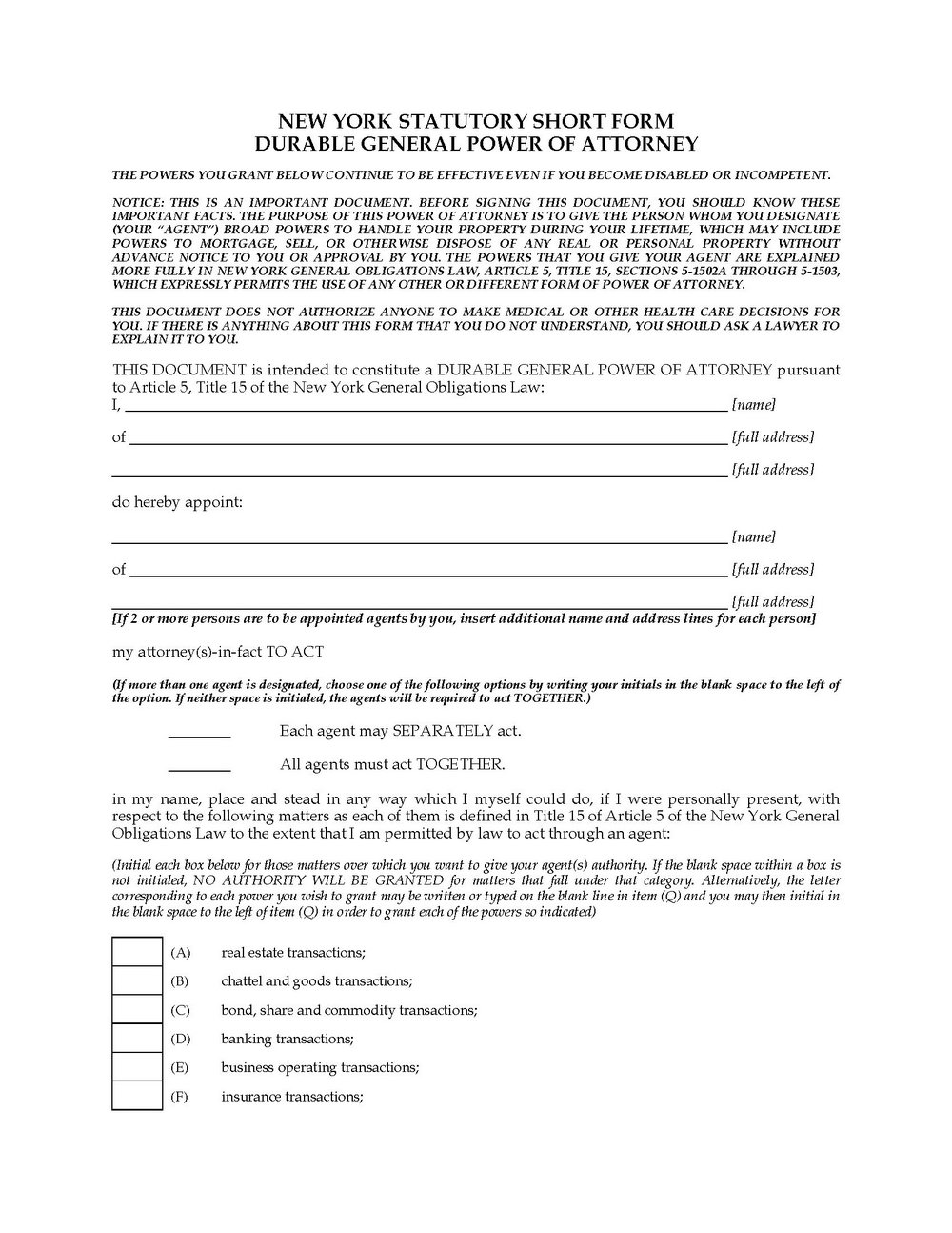 General Durable Power Of Attorney Form Colorado