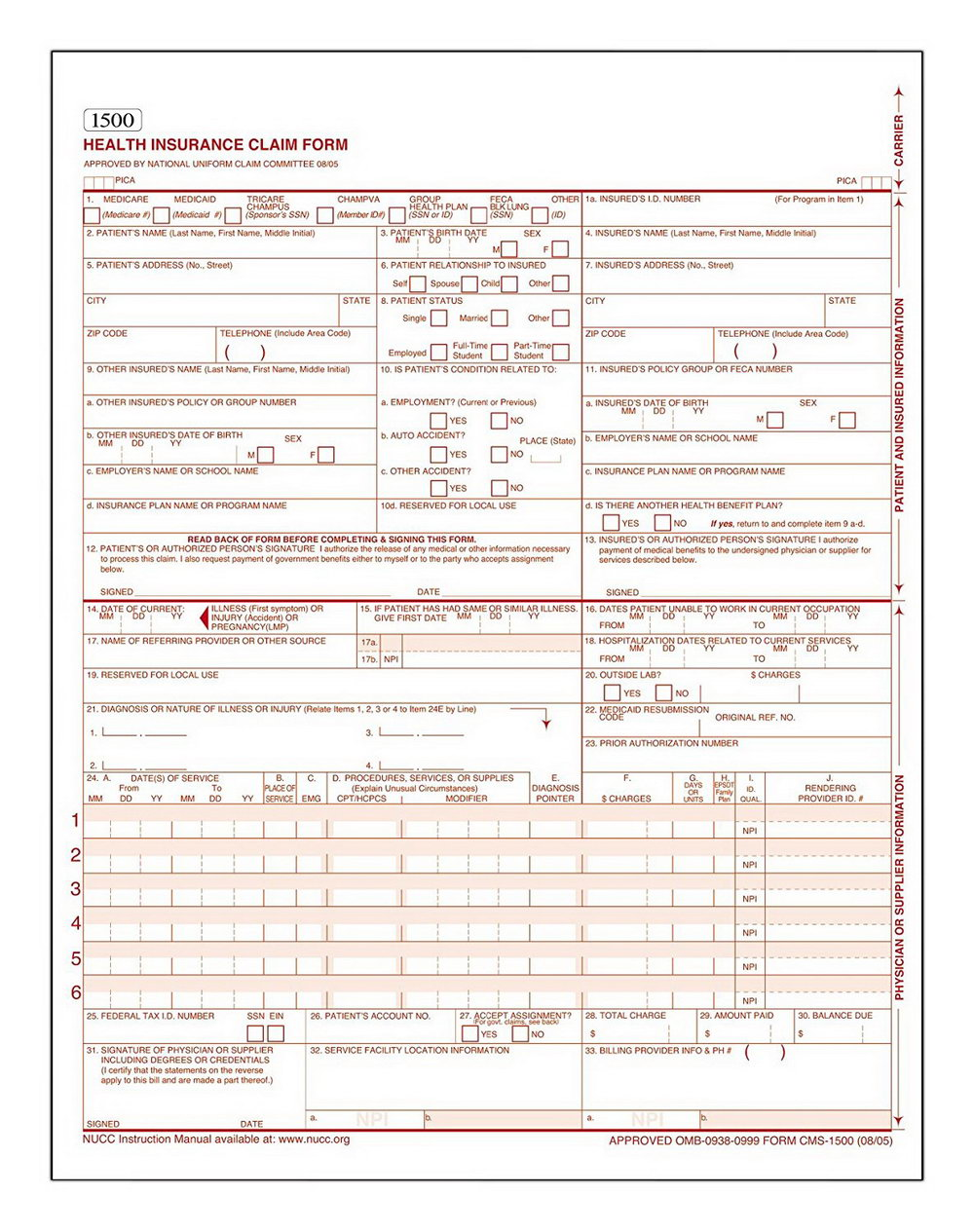 Hcfa Claim Form Instructions