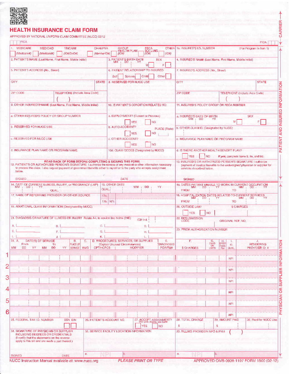 Hcfa Claim Form
