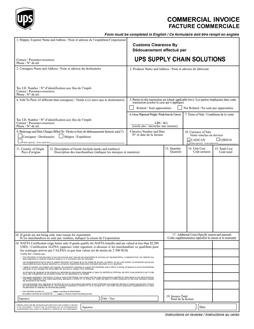 Invoice Blank Form Free Printable