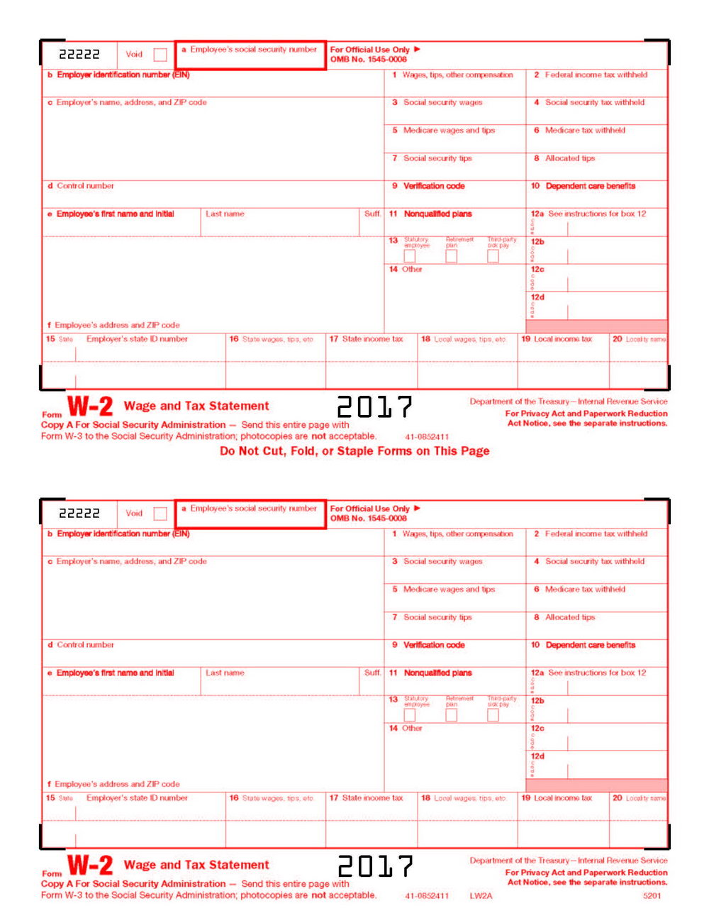 Irs W 2 Forms
