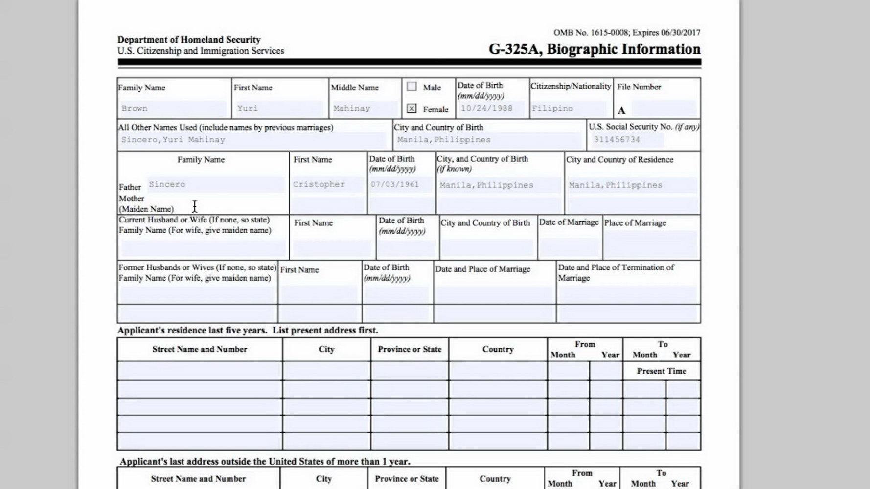 K1 Visa Form G 325a