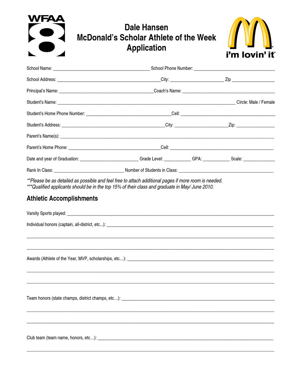 Mcdonalds Careers Application Form