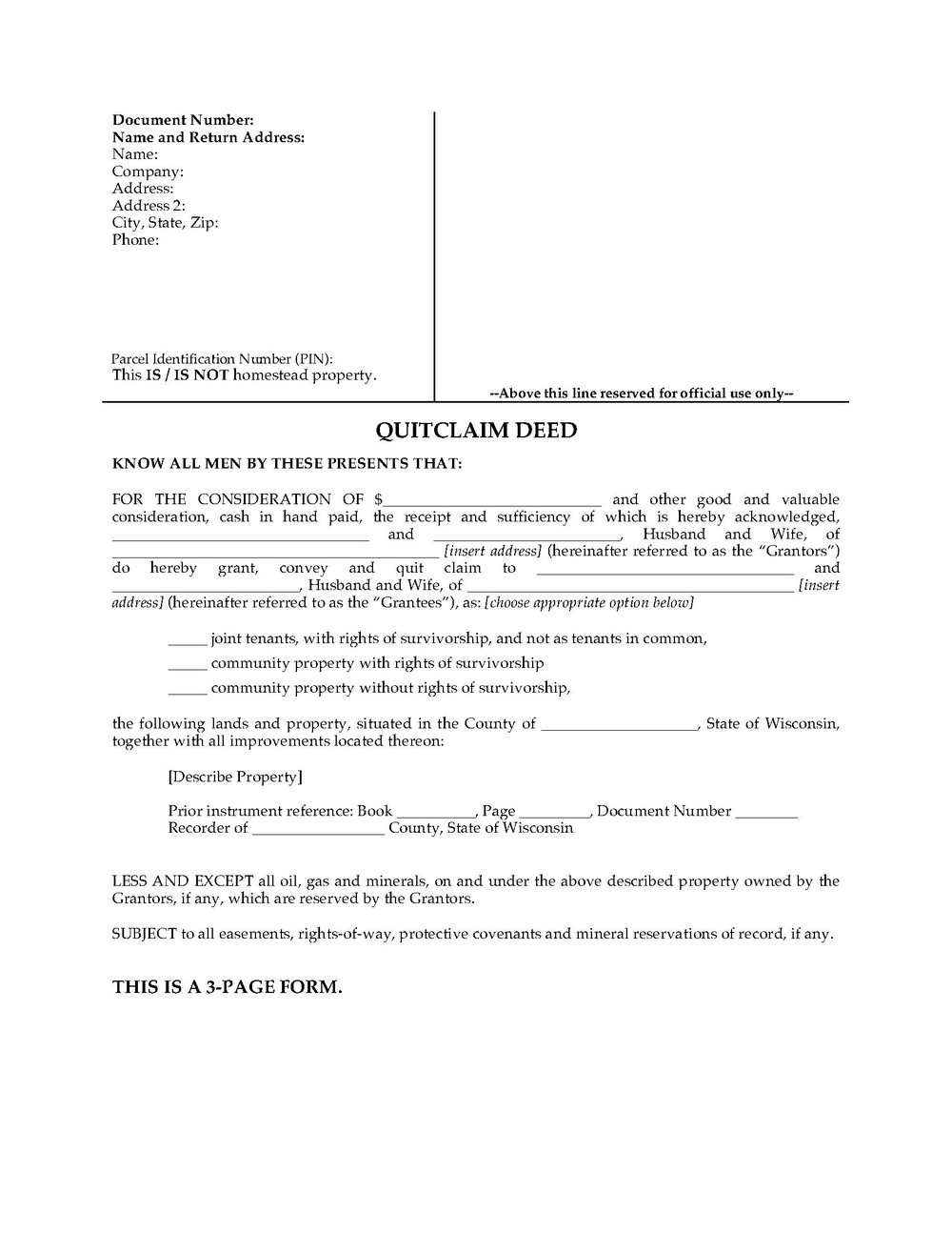 Michigan Quit Claim Deed Form