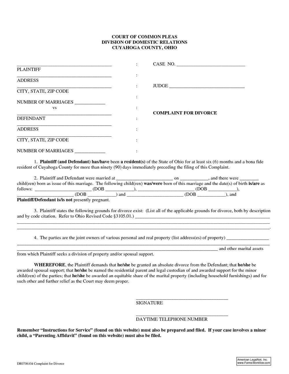 Ohio Divorce Forms