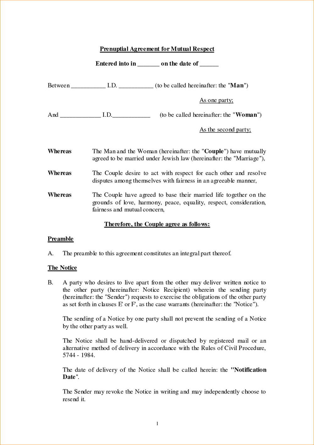 Postnuptial Agreement Form Georgia