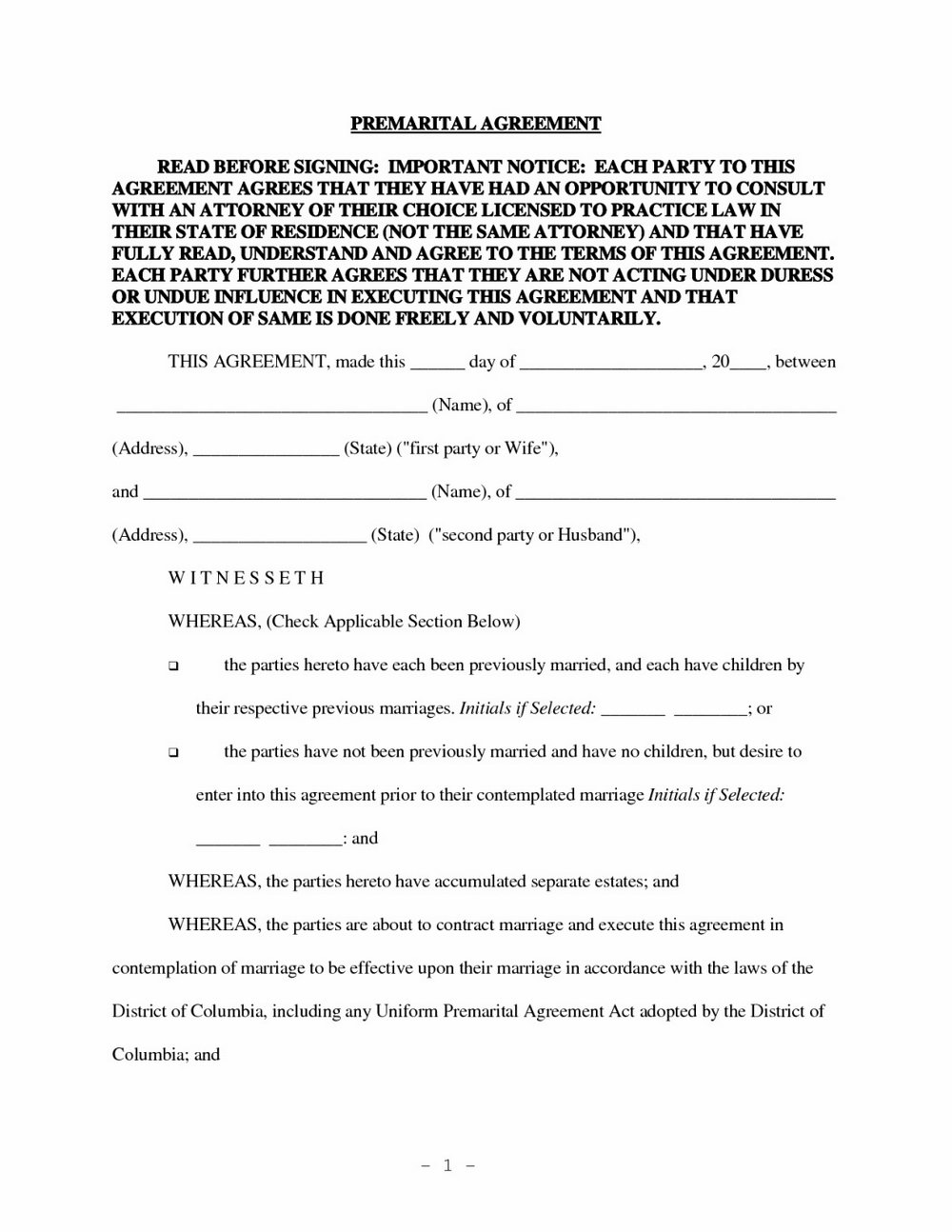 Postnuptial Agreement Form