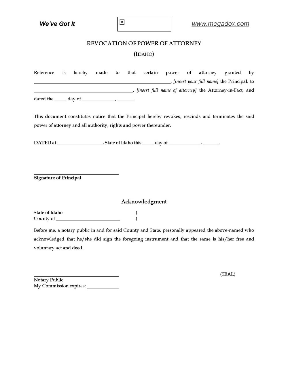 Power Of Attorney Form Idaho Pdf