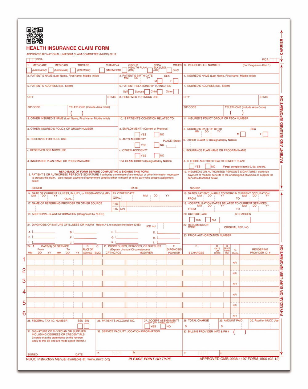 Printable Cms 1500 Form
