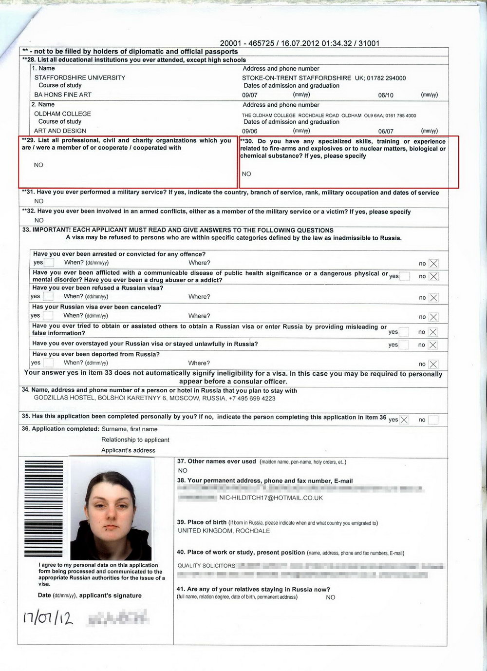 Russian Visa Application Form Pdf