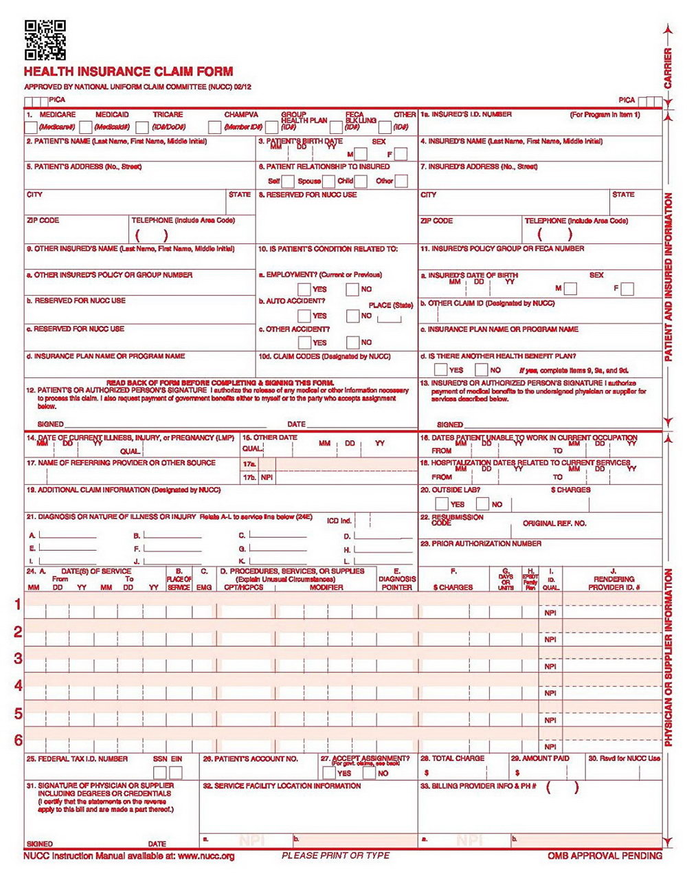 Sample Of 1500 Health Insurance Claim Form