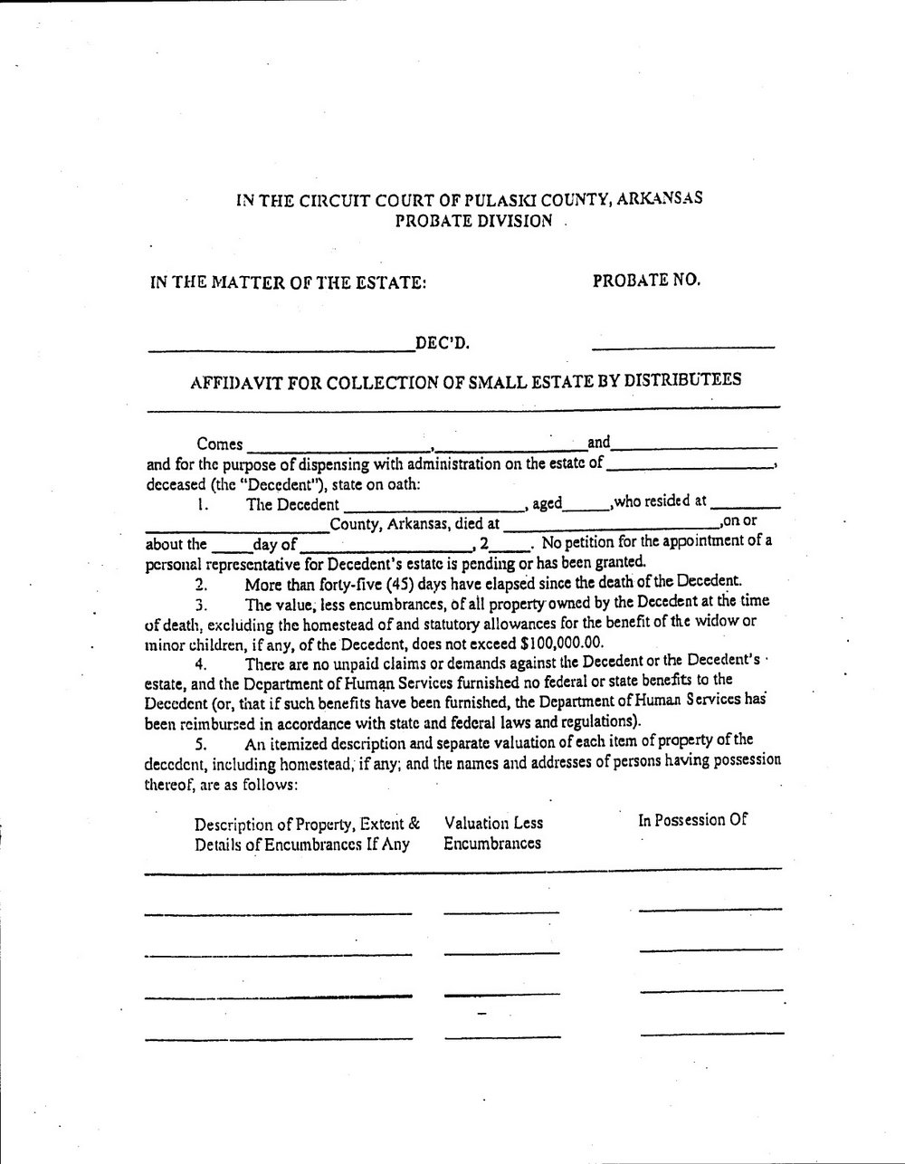 Small Estate Affidavit Form Illinois