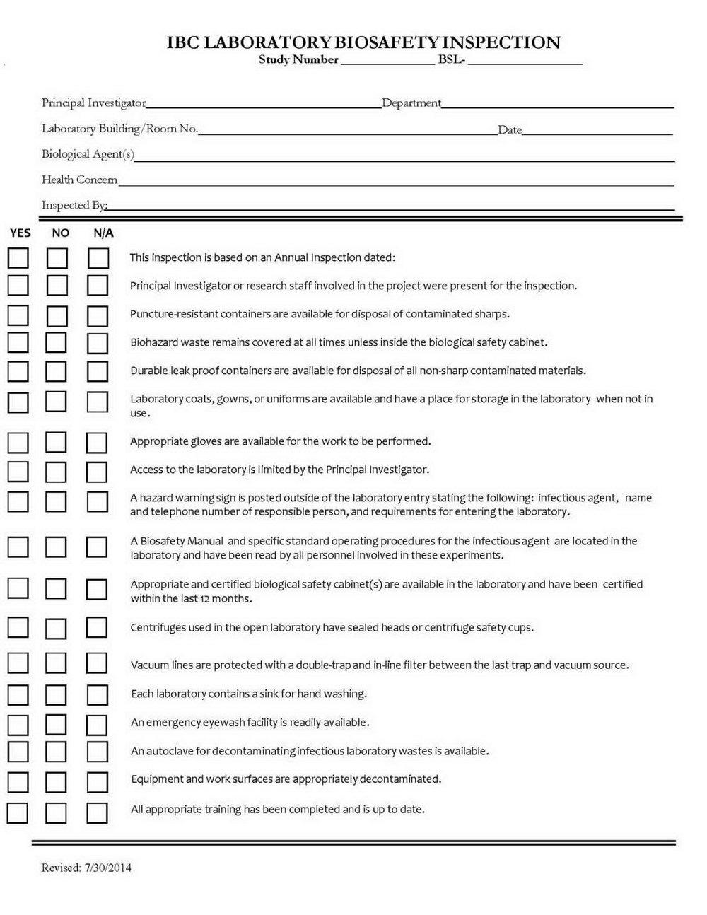 Step Ladder Inspection Form
