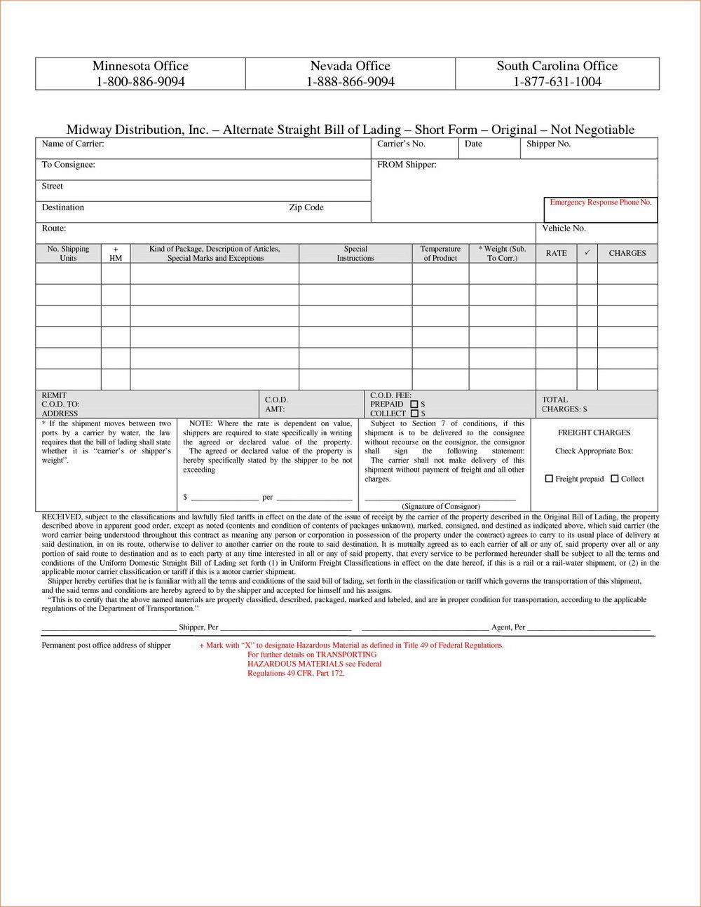 Straight Bill Of Lading Short Form Template