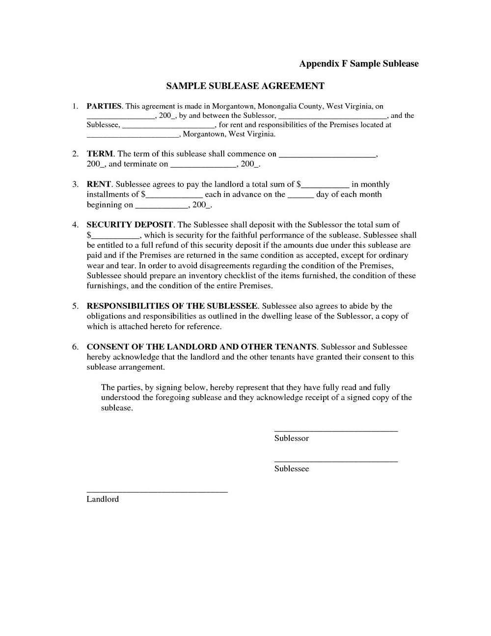Sublet Agreement Format India