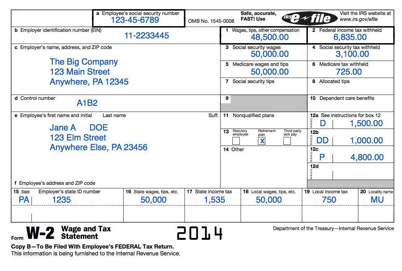 W2 Tax Forms