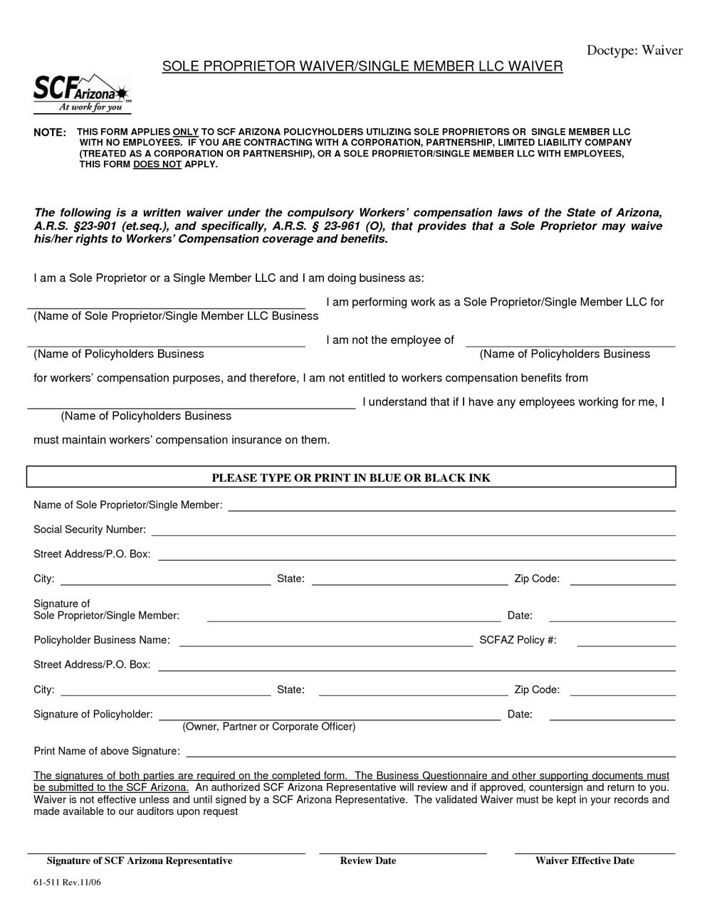 Workers Compensation Waiver Form For Independent Contractors New York