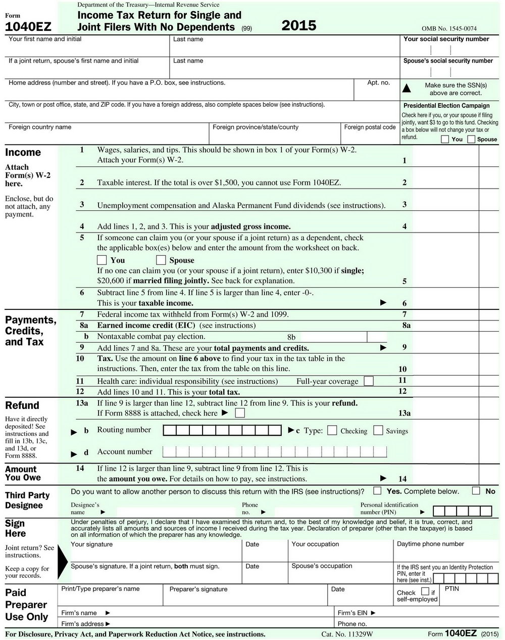 1040ez Tax Forms