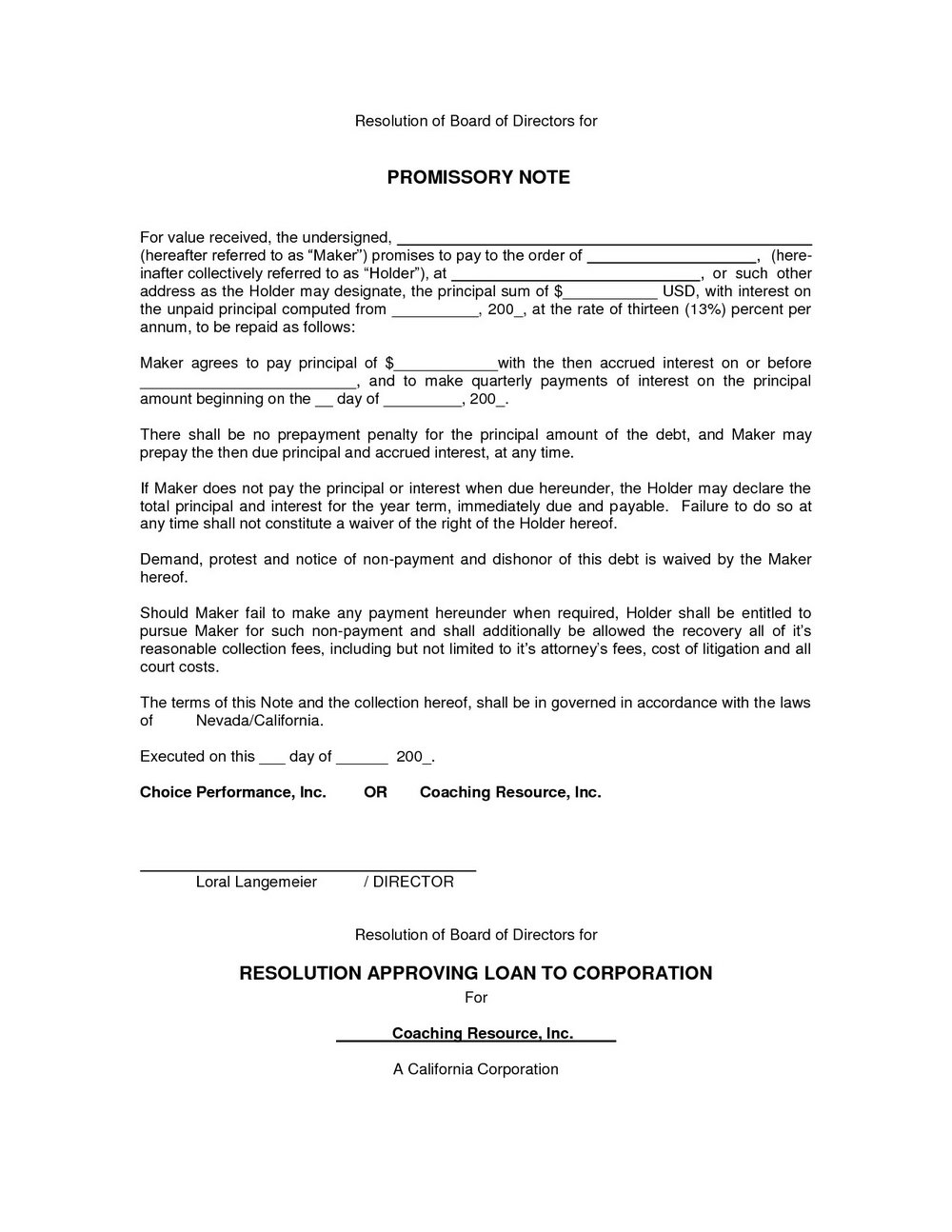 Blank Promissory Note Forms