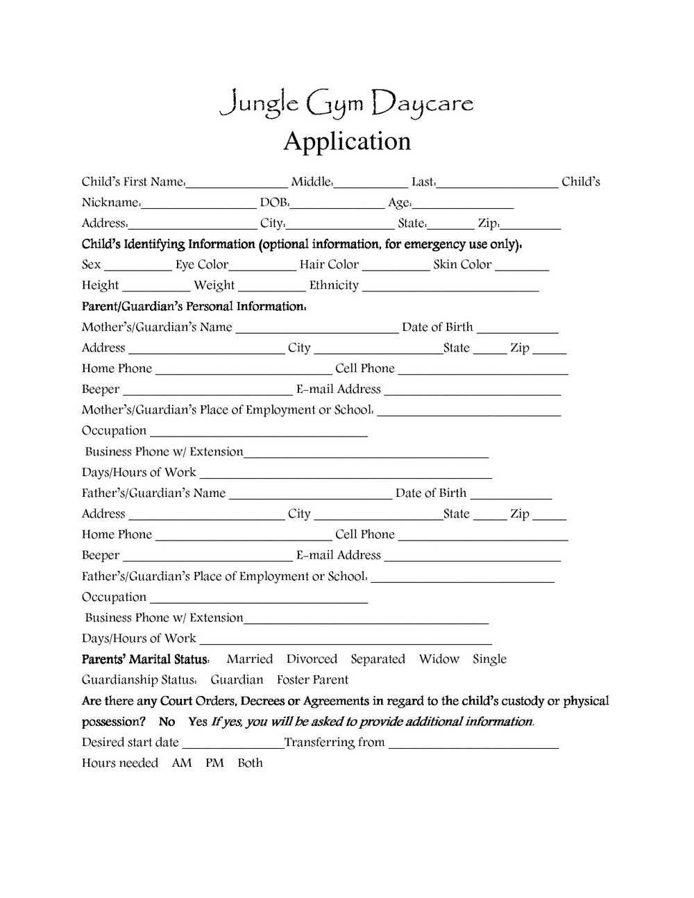 Daycare Enrollment Form Template