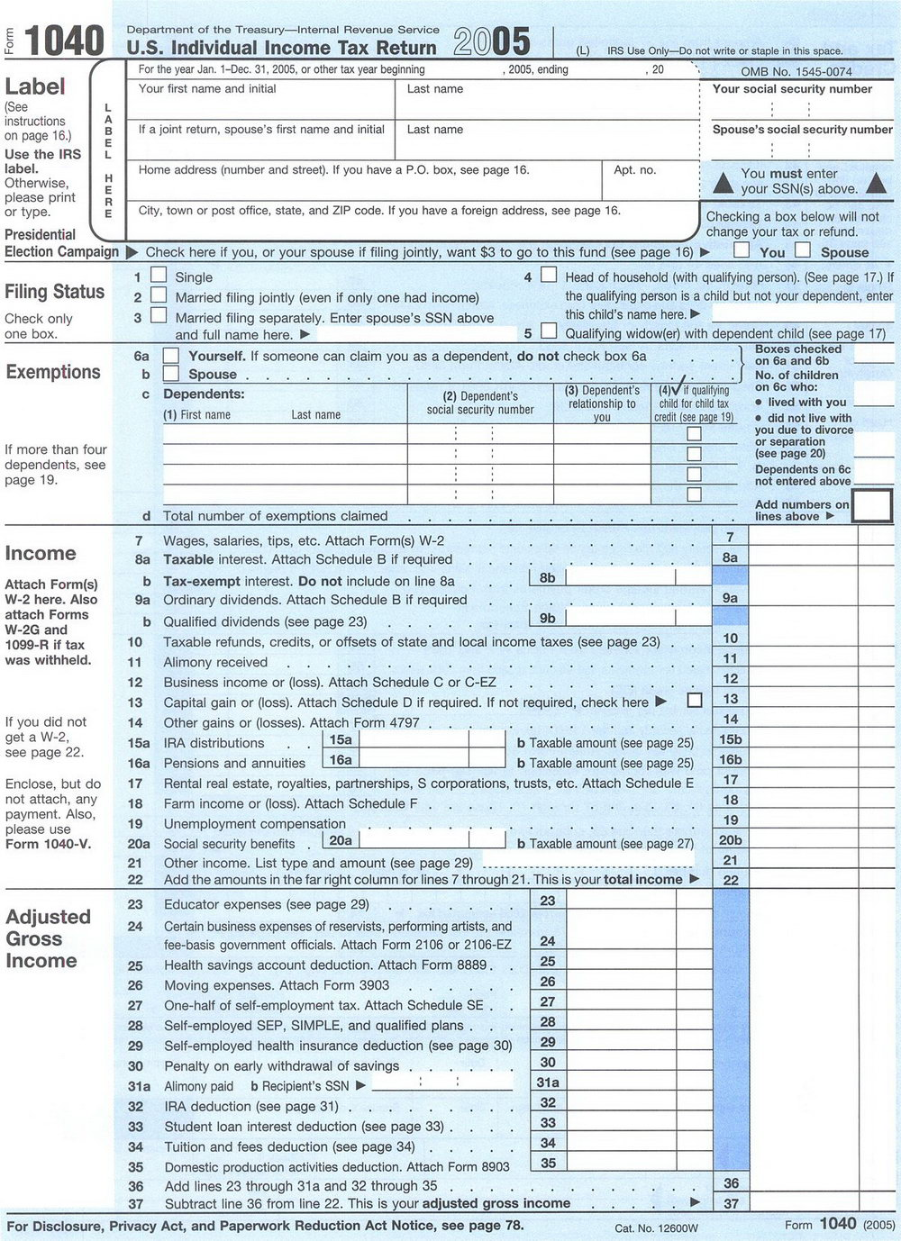 Federal Income Tax Forms 1040a