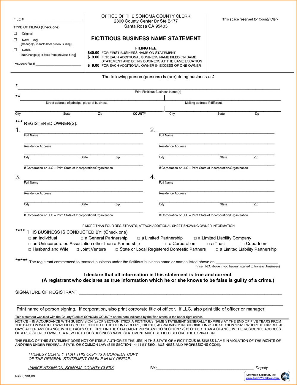 Fictitious Business Name Form Santa Clara County
