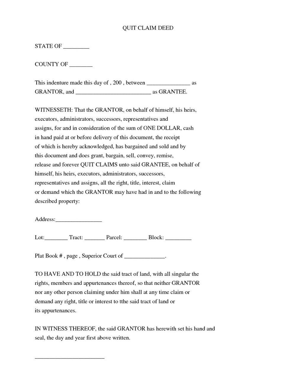 Free Quick Claim Deed Form Nevada