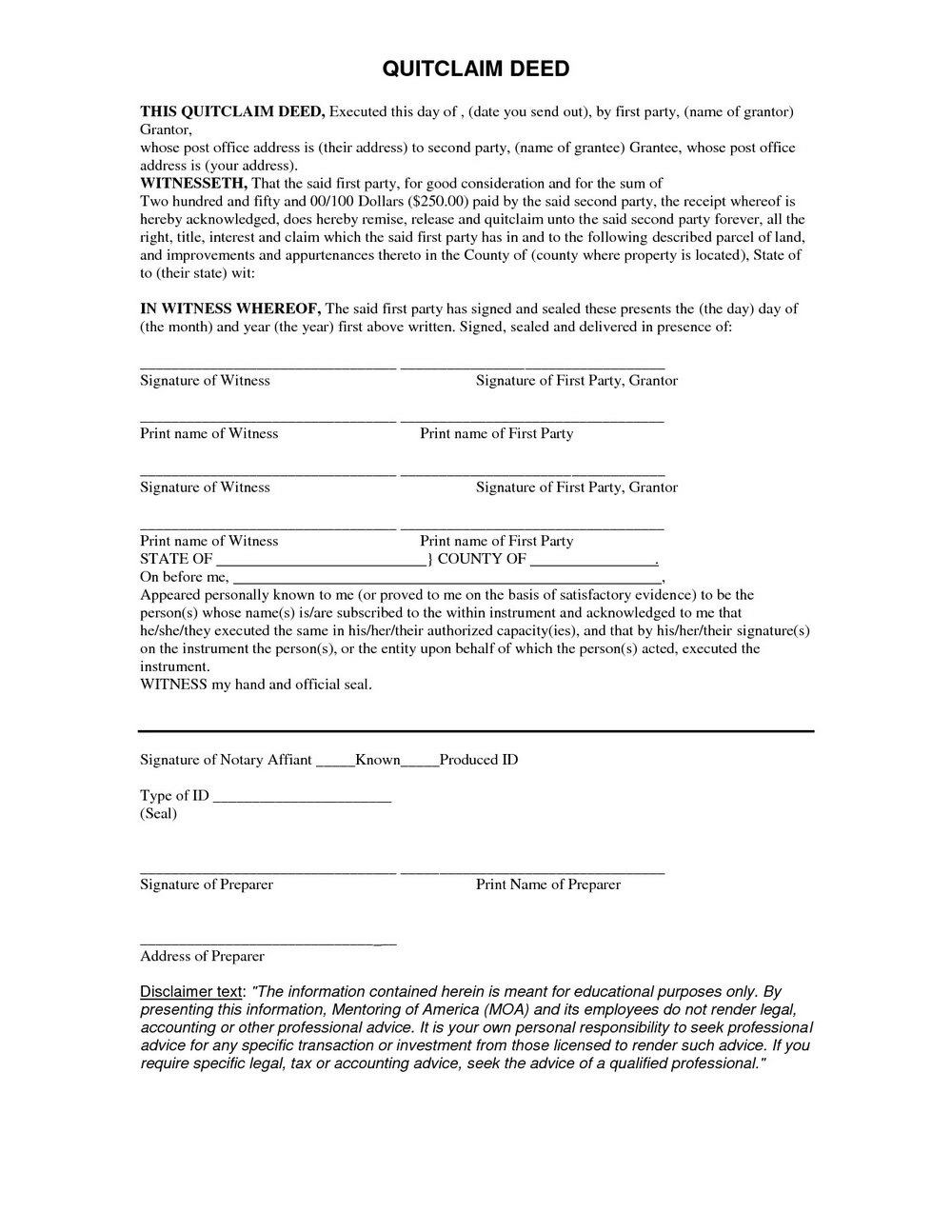 Free Quick Claim Deed Form