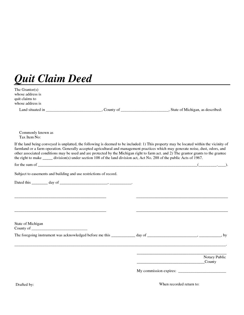 photograph regarding Free Printable Quit Claim Deed Form identify Absolutely free Prevent Declare Deed Variety For Michigan - Types #6923