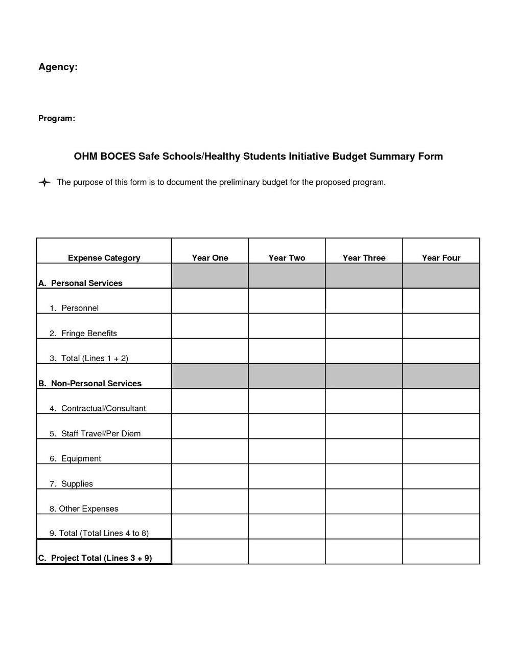 Household Budget Forms Free Printable
