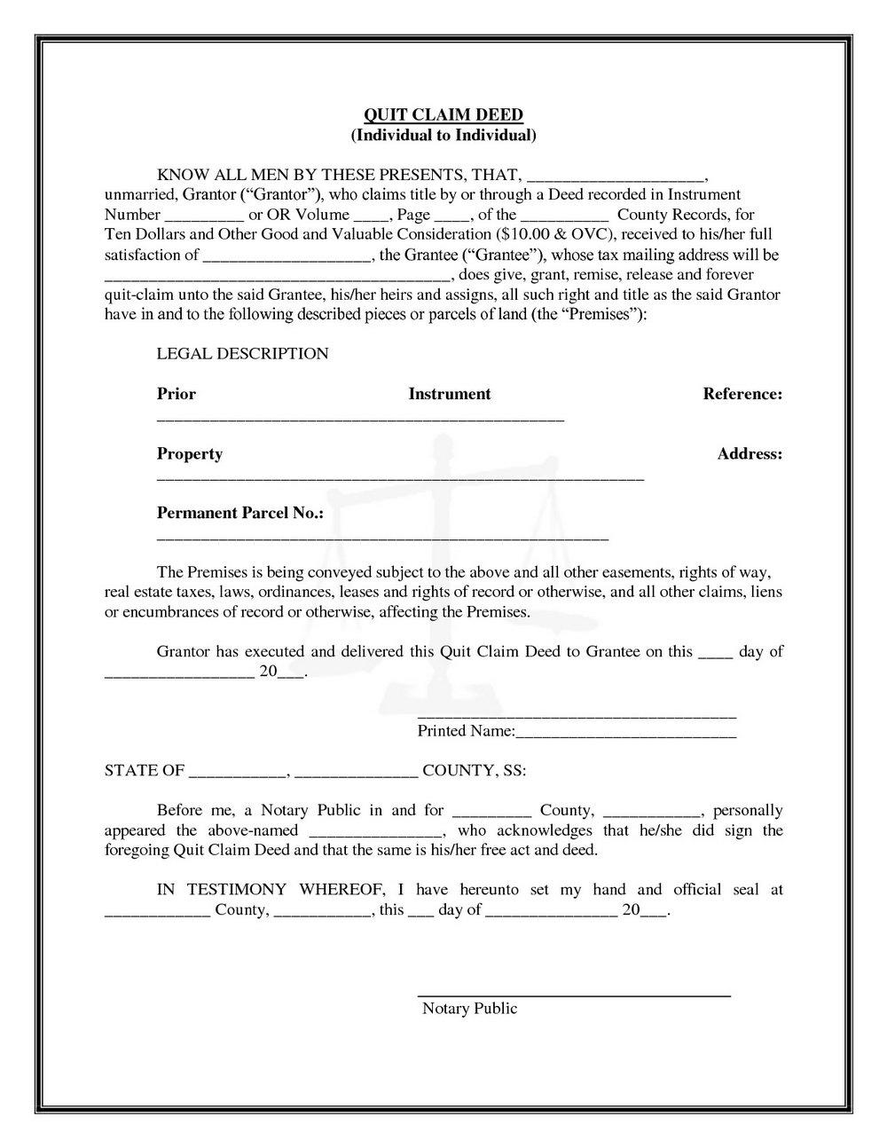 Quick Deed Claim Form Florida