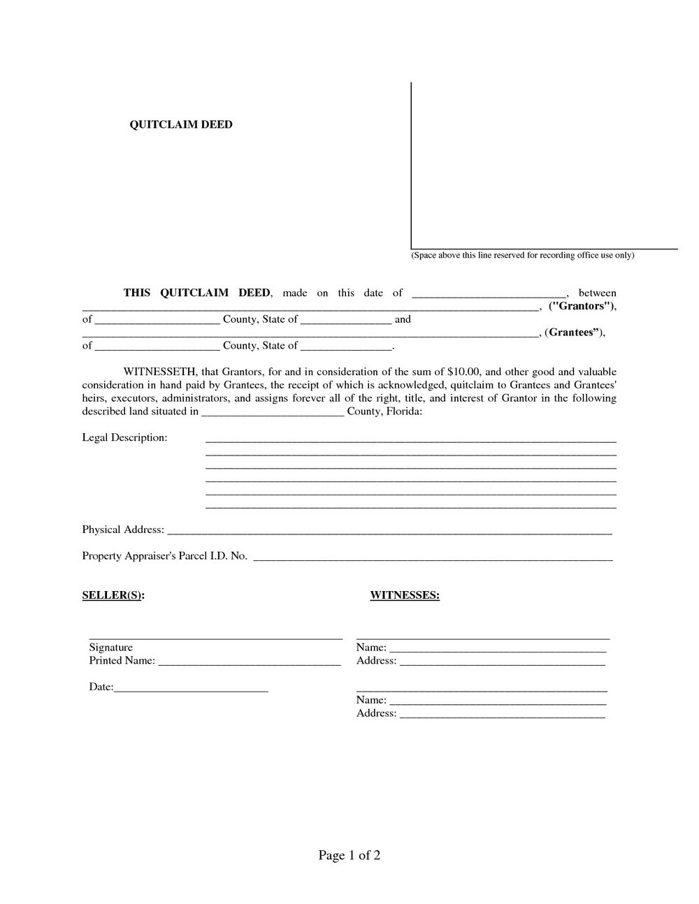 Quit Claim Deed Florida Form Free Download