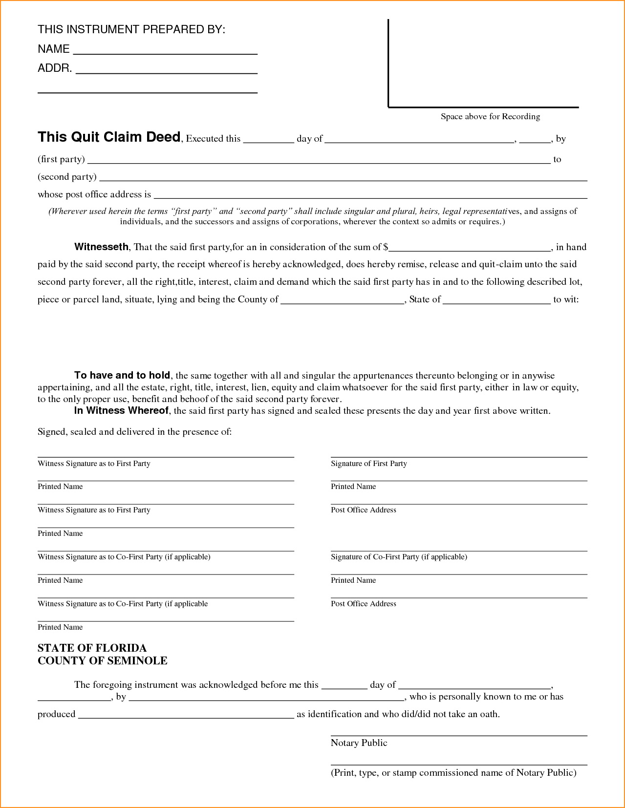 Quit Claim Deed Form Illinois Cook County