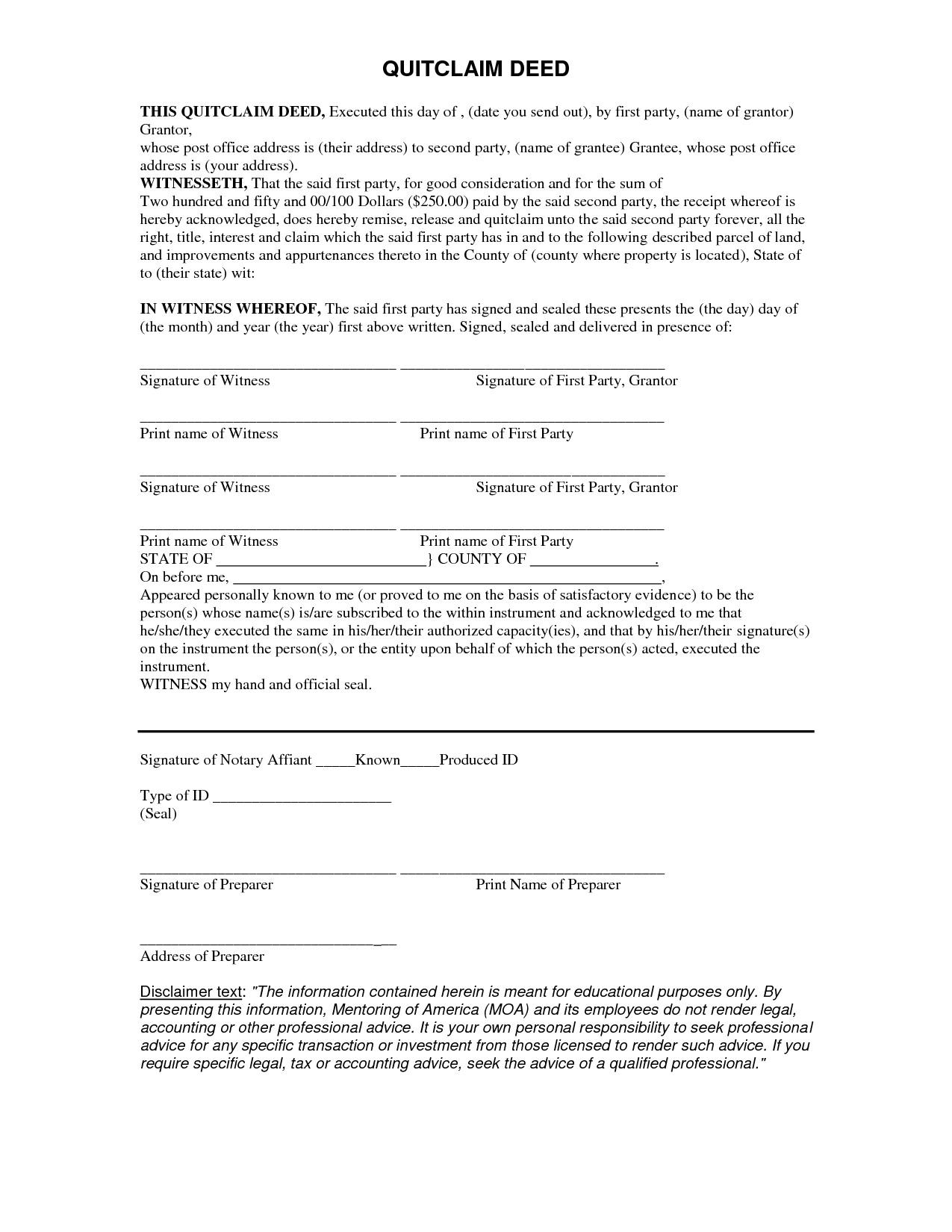 Quit Claim Deed Form Missouri Free