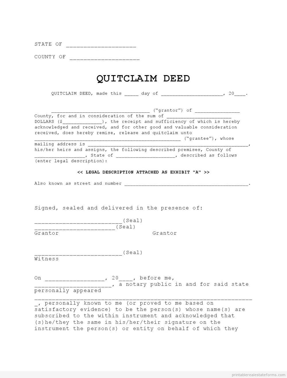 Quit Deed Claim Form