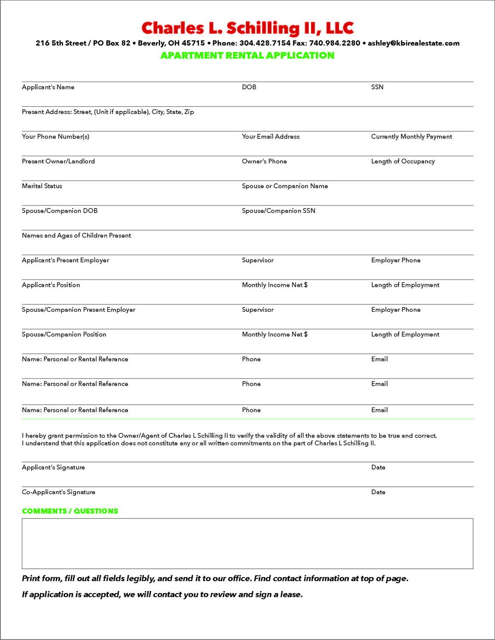 Rental Application Form Ohio