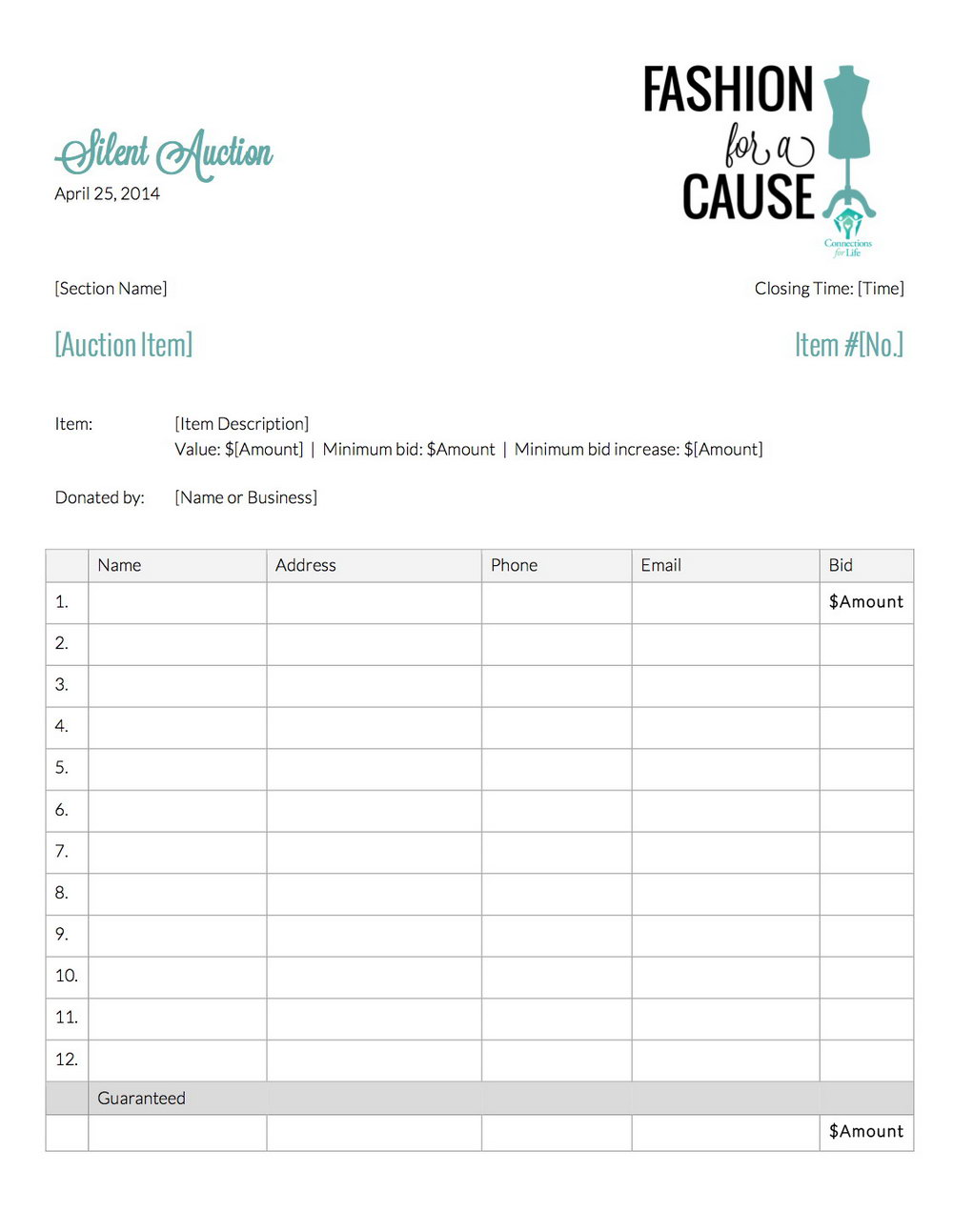 Silent Auction Bid Form Template