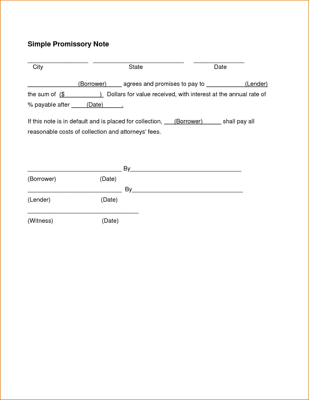 Simple Promissory Note Format
